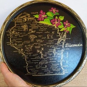 Vintage Wisconsin State Souvenir Round Metal Tray